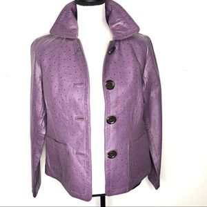 CHICOS purple ostrich print 100% leather  jacket